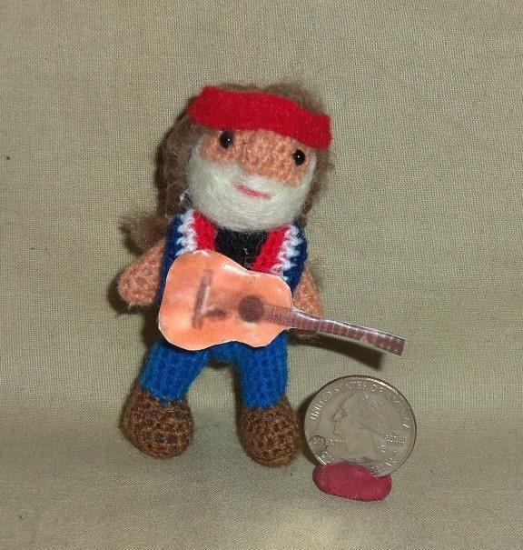 Willie Nelson Miniature Thread Artist Crochet Doll Ready To