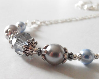Light Blue Bridesmaid Jewelry, Blue Pearl and Crystal Necklace, Ice Blue Wedding Jewelry,  Beaded Necklace, Handmade Jewelry, Silver