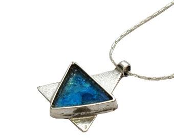 Blue Roman Glass Unique Pendant, Sterling Silver Judaica, Triangle Roman Glass Magen David, Holy Land Maghen David, Star of David Pendant