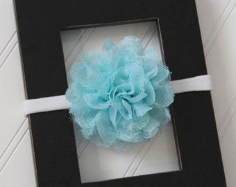 Aqua Chiffon Lace Headband- Newborn Baby Child- Photo Prop - Boutique Bow Headband