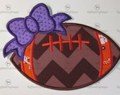 Iron On Applique -  Team Football with Bow