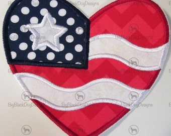 Flag Heart - July 4th Iron On or Sew On Embroidered  Applique