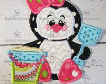 Girly Penguin with Sand Bucket  and Penguin Boy Now Available- Summer Iron On or Sew On Embroidered Applique