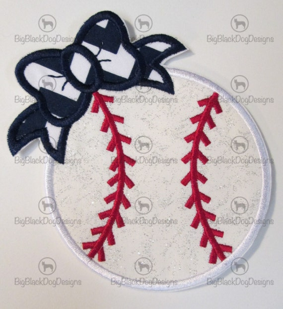 Girl Baseball with Bow or Boy Baseball with Bowtie - Iron On or Sew On Embroidered Custom Made Applique  READY TO SHIP in 3-7 Business Days