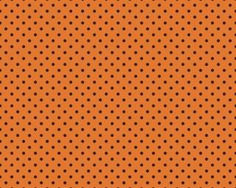 Orange Black Dot Trick or Treat Halloween Fabric - Riley Blake - C3936