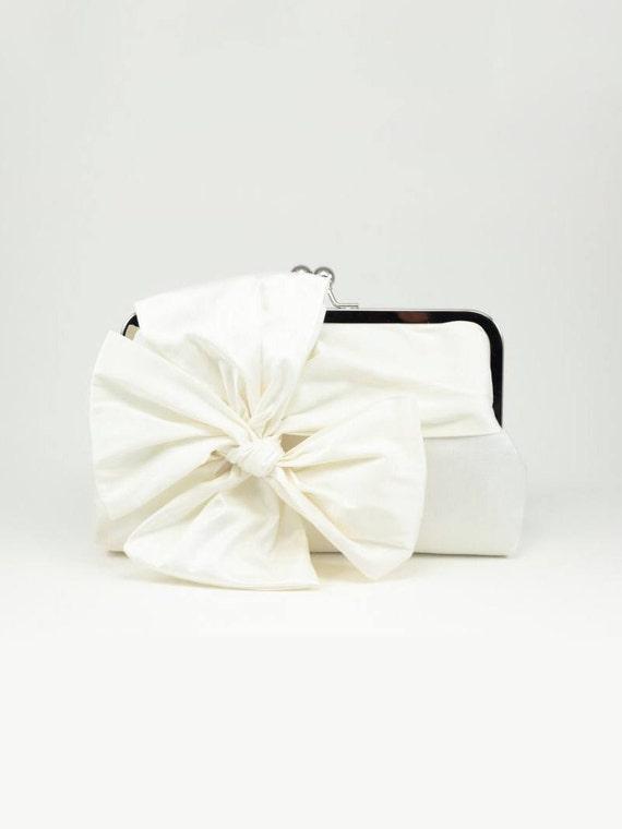 Ivory Bridal Clutch | Bow Clutch | Ivory Wedding Clutch | Silk Clutch [Classic Bow Clutch: Ivory Silk]