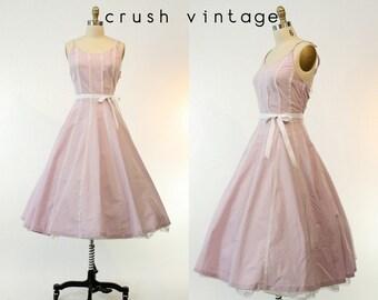 50s Bobbie Brooks Cotton Dress Small Medium / 1950s Lace Dress / Misty Lilac Dress