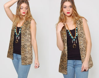Vintage 70s TAPESTRY Vest SOUTHWESTERN Chenille Vest Boho Hippie Top Layering Piece O/S