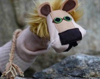 SALE Handmade Lion Sock Puppet