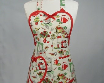 Cute Retro Apron, Womens Full Sweetheart Handmade Original Style