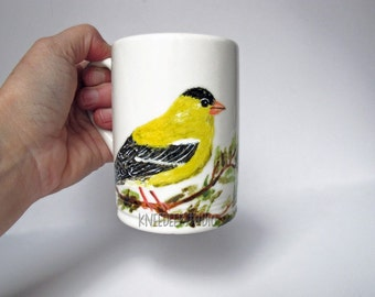 Goldfinch Coffee Mug Hand-Painted Bird original fine art painting on ceramic cup songbird yellow bird wildlife art gift for Mom under 50