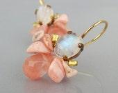 Moonstone Rose Quartz Bee Earrings In Copper, Moonstone Dangle Earrings, Summer Earrings Unique Earrings, Apricot Earrings, Summer Fashion