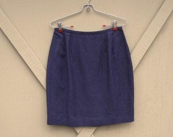 vintage Dark Purple Linen Blend High Waist Pencil Skirt / Embassy Row Petites Sportswear