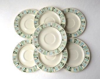Mid Century vintage Taylor Smith and Taylor Taylorstone Cathay Saucers / Set of 7
