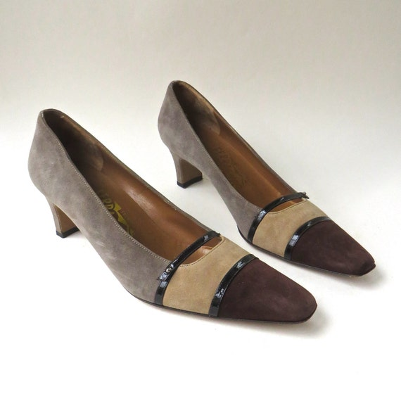 90s vintage Salvatore Ferragamo Warm Grey, Tan and Brown Suede Mary Jane Pumps / Made in Italy