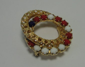 Gold tone Filigree with White, Red and Blue Rhinestones Interlock Brooch,Pin