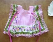 Summery Mauve Flowered Hanky Doll Dress and Bonnet