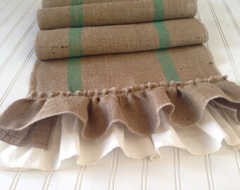 Burlap Grain Sack Style Ruffled Table Runner with Striping