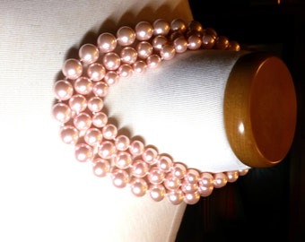 Pink Triple Strand Faux Pearls Vintage Necklace
