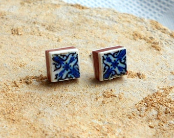 Portugal Antique Azulejo Tile Replica Post Stud Earrings, Ovar Royal Blue (see photos of actual facade) WATERPROOF 494
