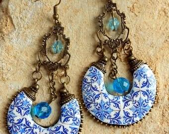 Portugal Antique Azulejo Tile Replica Blue Chandelier Earrings - Church of Mercy PORTO 1590 - Bohemian, Delft, Persian