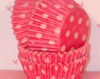 MINI Pink Polka Dot Cupcake Liners   (Qty 50)