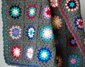 TRUE GRAY with Multi Color Circles Throw Blanket for Guest Room,Family Room,Dorm,Apartment,or CottageHand Made
