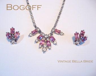 Vintage Designer Bogoff Pink Rhinestone Necklace Earring Set 1960s