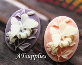 39mm - ASSORTED Large butterfly and flower cabochon/cameo - 2 pcs (CA039-A)