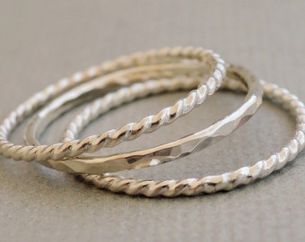 3 Silver Rings thin Twist Rings and hammered ring band Sterling Silver Stacking Sets Thumb Ring Midi Ring