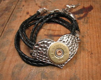 Shotgun Casing Jewelry - Bullet Jewelry - Triple Wrap Black Leather Silver Textured Heart 20g Shotgun Casing Bracelet - A SureShot Exclusive