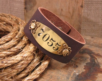 Upcycled Jewelry - Hotel Room Brass Number Plate Brown Leather Cuff Bracelet - Room 7055 - Repurposed Metal Tags