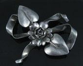 Brooch, Sterling Silver, Vintage Handmade, Large Silver Bowtie, Flower Leafs Autaum Pin Brooch