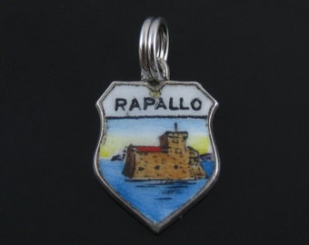 Vintage Rapallo Travelers Shield Ocean View 800 Silver Enamel Charm