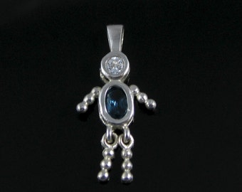 Pendant, Sterling Silver, Baby Blue, Cubic Zirconia, Boy, Vintage Silver Charm 925