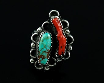 Ring, Size 6.25, Sterling Silver, Vintage, Navajo, Red Coral Branch, Blue Matrix, Natural Turquoise Stone, Large Silver Ring 925