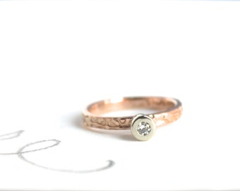 rose gold diamond engagement ring . 14k rose and white gold conflict free diamond ring . unique engagement ring ready to ship size 5