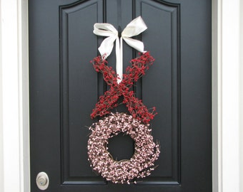 Valentine Wreath SALE, Wreaths, XOXO, Valentine's Day, Berry Wreath, St Valentine, Kisses and Hugs - XXOO - Holiday Wreath - Red Pink