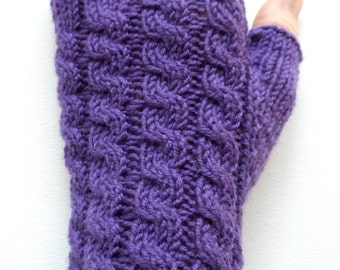 Purple Handknit Fingerless Gloves for Women, Teen Girls, Texting Gloves, Hand Warmers, Wrist Warmers, cable pattern, violet, merino wool
