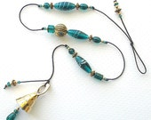 Beaded Wind Chime : Garden Chime with Teal Green Lampwork Glass Beads. Deep Blue-Green. Dark Jade. White Swirls. Antiqued Gold. Brass Bell