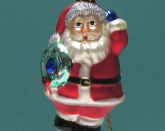 Santa Ornament Vintage Krebs Lauscha or Radko Blown Glass Christmas Tree Ornament Santa Claus St. Nick