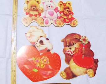 Valentines 3 Party Decorations Vintage Personality Bear Posters Eureka Die Cut Bulletin Board Wall Hangings Paper Ephemera Lot Valentine