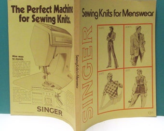 Singer Sewing Book Fashion Prints Vintage 70 Menswear Men's Knits Jackets Pants Shirts Sewing Patterns Craft Tutorial Instruction