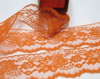 "Wide Flat Lace 3"" inch Lace Trim 5-30 yd for Sewing, Orange Halloween Decor Gift Wrap Ribbon Fall Wreaths Peach Tangerine Embellishment BTY"