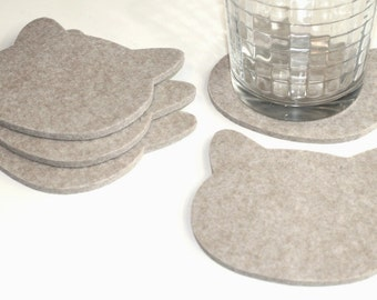 Cat Head Drink Coasters in 5mm Thick Virgin Merino Wool Felt Fabric Coaster Set Eco-friendly Crazy Cat Lady Pet Lovers Coworker Gift Linen