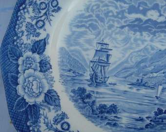 Vintage Lochs of Scotland by Royal Warwick Blue and White Plate with Sailboat and Mountains