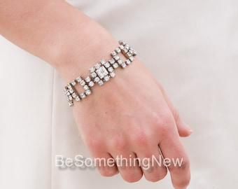 Vintage Rhinestone Bracelet, Wedding Jewelery, Art Deco Style Vintage Rhinestone Bracelet