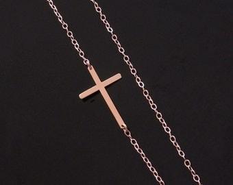 Kelly Ripa Sideways Cross Necklace in Rose Gold
