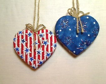 Large Americana Heart Ornaments | Patriotic Decor | Fourth of July | Red White Blue | Independence Day | Tree Ornament | Set/2 | # 1