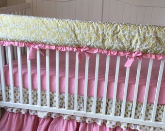 READY YO SHIP Crib Bedding Gold and Pink Bumperless